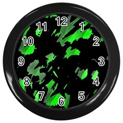 Painter Was Here   Green Wall Clocks (black) by Valentinaart