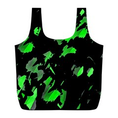 Painter Was Here   Green Full Print Recycle Bags (l)  by Valentinaart