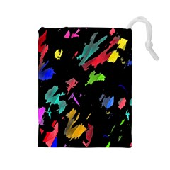 Painter Was Here Drawstring Pouches (large)  by Valentinaart