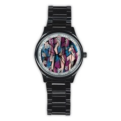 Purple High Art Stainless Steel Round Watch by Valentinaart