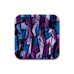 Purple Decorative Abstract Art Rubber Coaster (square)  by Valentinaart