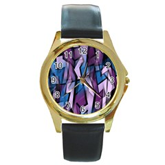 Purple Decorative Abstract Art Round Gold Metal Watch by Valentinaart