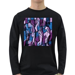 Purple Decorative Abstract Art Long Sleeve Dark T Shirts by Valentinaart