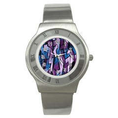 Purple Decorative Abstract Art Stainless Steel Watch by Valentinaart