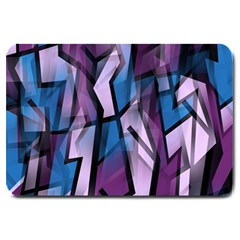 Purple Decorative Abstract Art Large Doormat  by Valentinaart