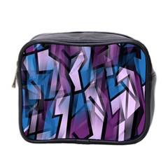 Purple Decorative Abstract Art Mini Toiletries Bag 2 Side by Valentinaart