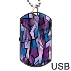 Purple Decorative Abstract Art Dog Tag Usb Flash (one Side) by Valentinaart
