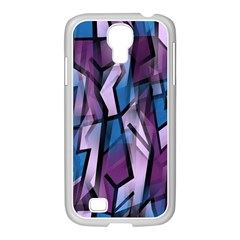 Purple Decorative Abstract Art Samsung Galaxy S4 I9500/ I9505 Case (white) by Valentinaart