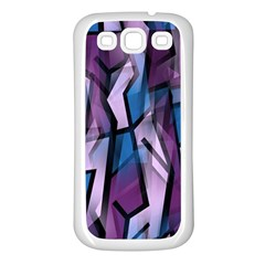Purple Decorative Abstract Art Samsung Galaxy S3 Back Case (white) by Valentinaart