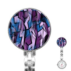 Purple Decorative Abstract Art Stainless Steel Nurses Watch by Valentinaart