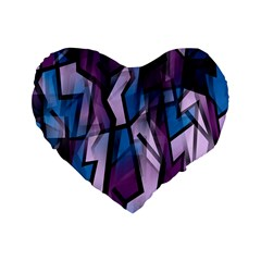 Purple Decorative Abstract Art Standard 16  Premium Flano Heart Shape Cushions