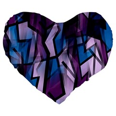 Purple Decorative Abstract Art Large 19  Premium Flano Heart Shape Cushions by Valentinaart