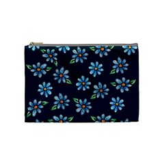 Retro Blue Daisy Flowers Pattern Cosmetic Bag (medium)  by BubbSnugg
