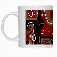 Red And Brown Abstraction White Mugs by Valentinaart