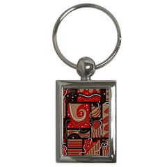 Red And Brown Abstraction Key Chains (rectangle)  by Valentinaart