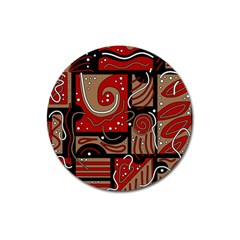 Red And Brown Abstraction Magnet 3  (round) by Valentinaart