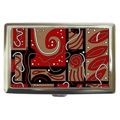 Red And Brown Abstraction Cigarette Money Cases by Valentinaart