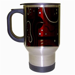 Red And Brown Abstraction Travel Mug (silver Gray) by Valentinaart