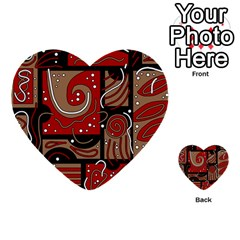 Red And Brown Abstraction Multi Purpose Cards (heart)  by Valentinaart