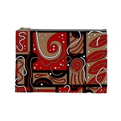 Red And Brown Abstraction Cosmetic Bag (large)  by Valentinaart