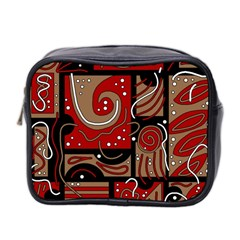 Red And Brown Abstraction Mini Toiletries Bag 2 Side