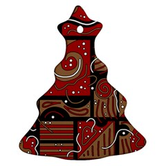 Red And Brown Abstraction Christmas Tree Ornament (2 Sides) by Valentinaart