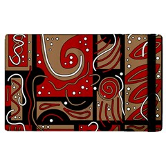 Red And Brown Abstraction Apple Ipad 2 Flip Case by Valentinaart