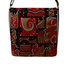 Red And Brown Abstraction Flap Messenger Bag (l)  by Valentinaart