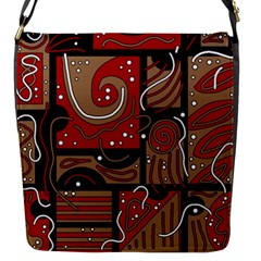 Red And Brown Abstraction Flap Messenger Bag (s) by Valentinaart