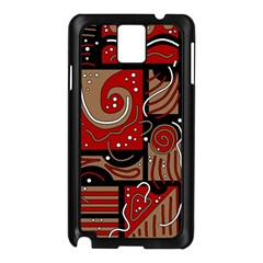 Red And Brown Abstraction Samsung Galaxy Note 3 N9005 Case (black) by Valentinaart