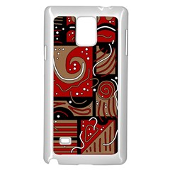 Red And Brown Abstraction Samsung Galaxy Note 4 Case (white) by Valentinaart