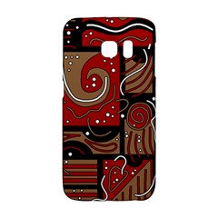 Red And Brown Abstraction Galaxy S6 Edge by Valentinaart
