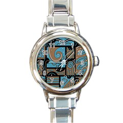 Blue And Brown Abstraction Round Italian Charm Watch by Valentinaart