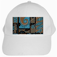 Blue And Brown Abstraction White Cap by Valentinaart