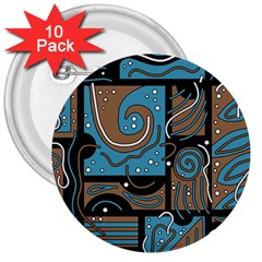 Blue And Brown Abstraction 3  Buttons (10 Pack)  by Valentinaart
