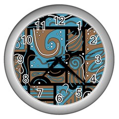 Blue And Brown Abstraction Wall Clocks (silver)  by Valentinaart