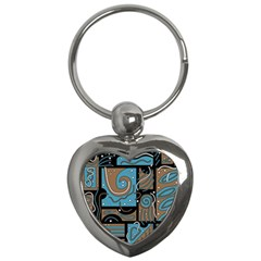 Blue And Brown Abstraction Key Chains (heart)  by Valentinaart