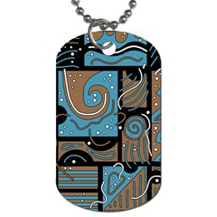 Blue And Brown Abstraction Dog Tag (two Sides) by Valentinaart