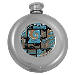Blue And Brown Abstraction Round Hip Flask (5 Oz) by Valentinaart