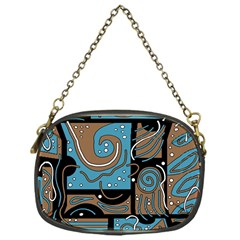 Blue And Brown Abstraction Chain Purses (one Side)  by Valentinaart