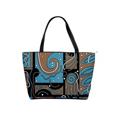 Blue And Brown Abstraction Shoulder Handbags by Valentinaart