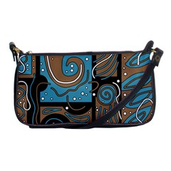 Blue And Brown Abstraction Shoulder Clutch Bags by Valentinaart