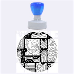 Blue And Brown Abstraction Rubber Round Stamps (large) by Valentinaart