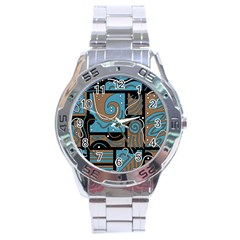 Blue And Brown Abstraction Stainless Steel Analogue Watch by Valentinaart