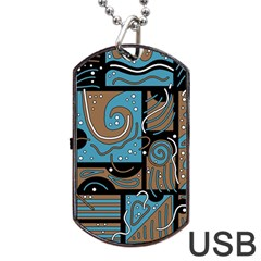 Blue And Brown Abstraction Dog Tag Usb Flash (two Sides)  by Valentinaart