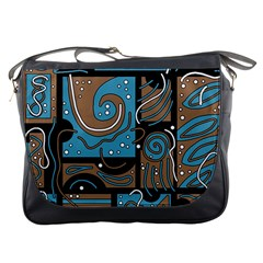 Blue And Brown Abstraction Messenger Bags by Valentinaart