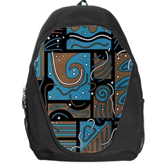 Blue And Brown Abstraction Backpack Bag by Valentinaart