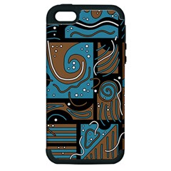 Blue And Brown Abstraction Apple Iphone 5 Hardshell Case (pc+silicone) by Valentinaart