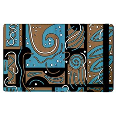 Blue And Brown Abstraction Apple Ipad 3/4 Flip Case by Valentinaart
