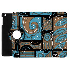 Blue And Brown Abstraction Apple Ipad Mini Flip 360 Case by Valentinaart